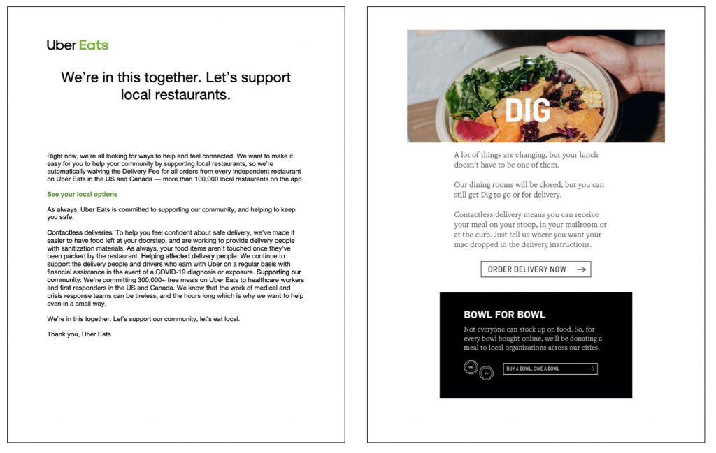 Rather than a letter from the CEO, Uber play to community, signing off from the team as a whole. Dig Inn's bright imagery and messaging evokes normalcy