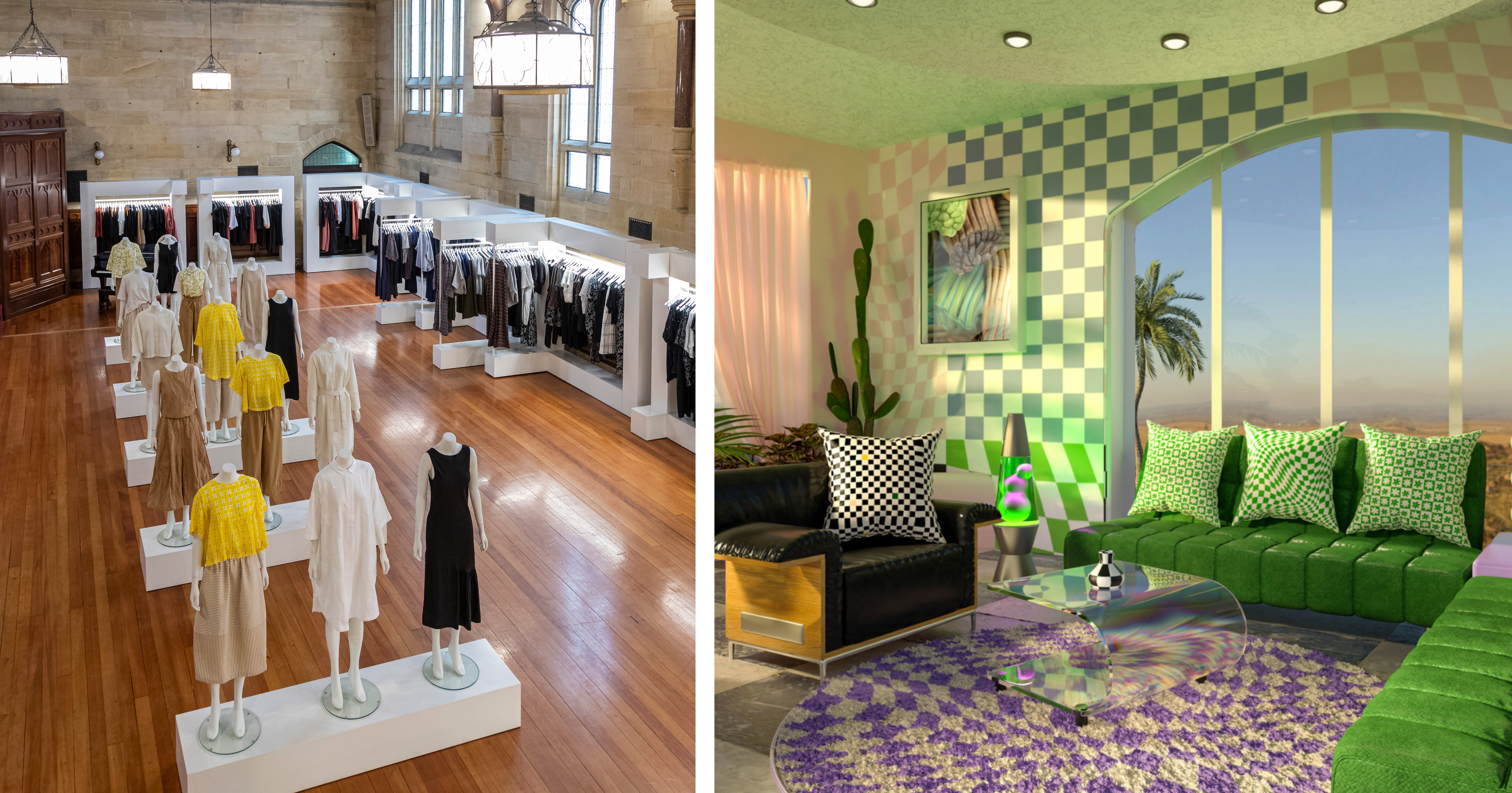 Left - Melbourne-based independent clothing label, Alpha 60, sets up shop in an ex-community church space. Right - Jolie Laide ('beautiful ugly') is a maximalist homeware brand with a boutique, community feel.
