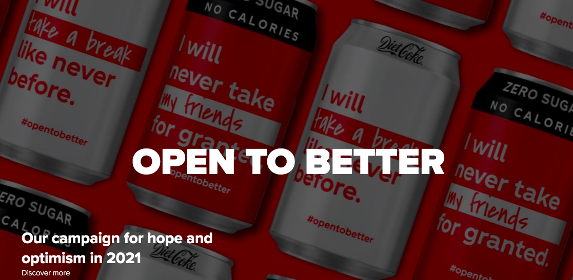 Coca-Cola codes optimism as determination as the brand issues out a series of mission statements to bring the nation together.